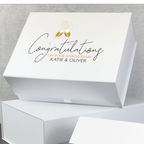 Congratulations on your anniversary, personalised gift box for a couple.