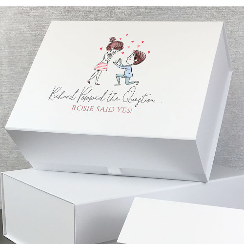 Congratulations on your engagement, wedding proposal personalised gift box for a couple.