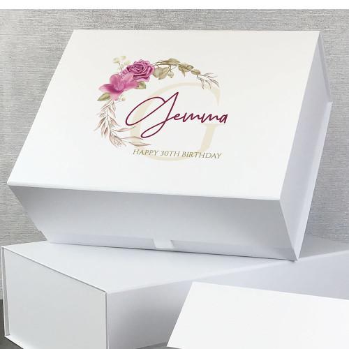 30th birthday. Pink flower design, personalised gift box for milestone birthdays.