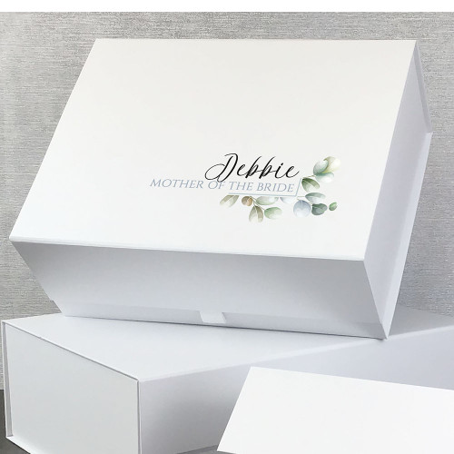 Mother of the bride. Simple foliage design, personalised gift box for the bridal party, wedding gift idea.