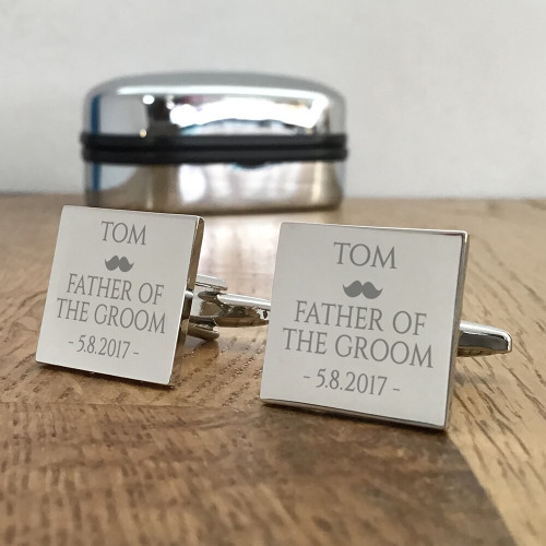 Personalised engraved silver wedding cufflinks for the father of the groom