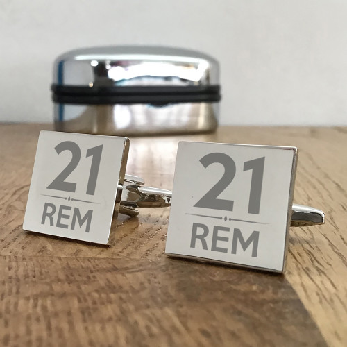 Silver cufflinks for milestone birthdays, personalised gift for him.