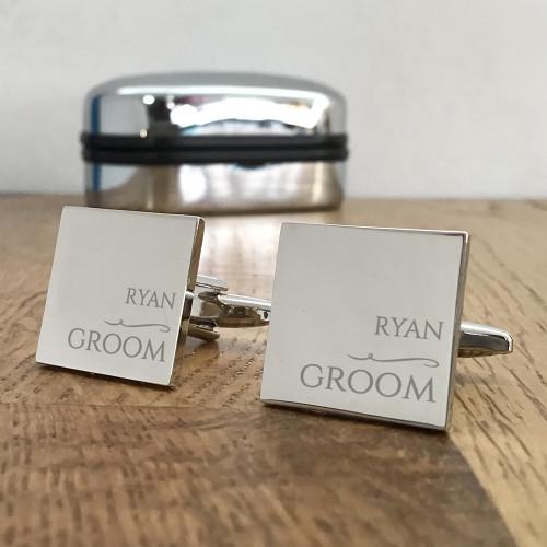 Groom, silver engraved cufflinks, keepsake wedding gift idea.