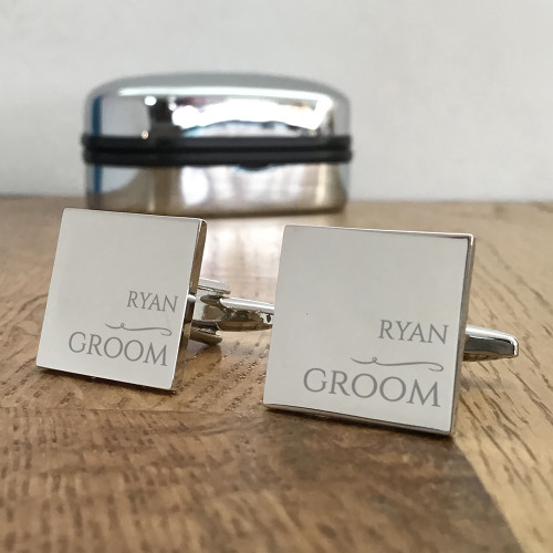 Groom, silver engraved cufflinks, keepsake wedding gift idea.