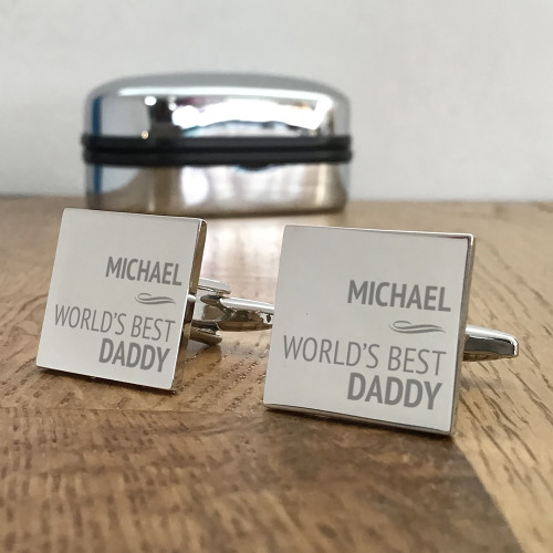 World's best daddy, engraved and personalised cufflinks gift for him