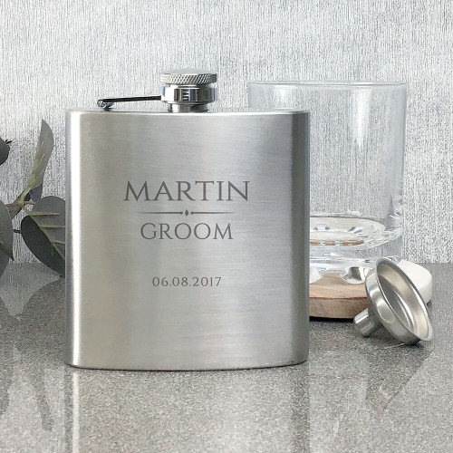 Groom stainless steel hip flask, personalised engraved wedding gift.