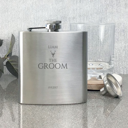 Groom engraved stainless steel hip flask wedding stag party keepsake gift