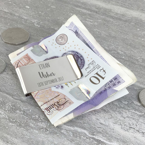 Personalised engraved usher money clip thank you wedding keepsake gift