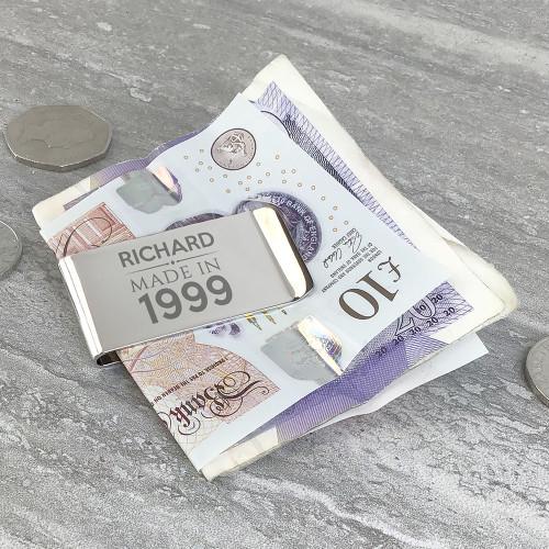 Engraved chromed silver money clip keepsake gift idea to mark a special birthday