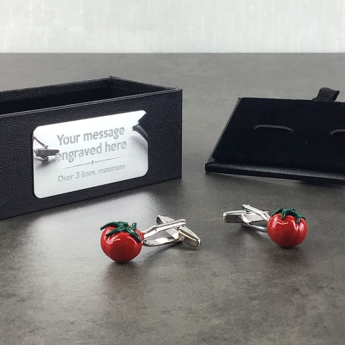 Tomato themed cufflinks gift idea for an allotment gardener or chef - presented in an engraved cufflinks gift box