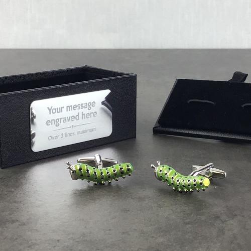 Caterpillar cufflinks gift idea for a gardener, presented in a black cufflinks box with an engraved presentation plate