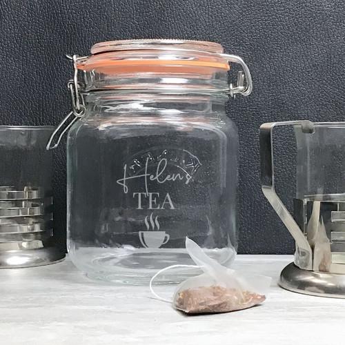 Personalised clip top kilner jar for tea.