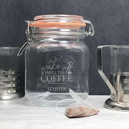 Wake up and smell the coffee kilner jar gift