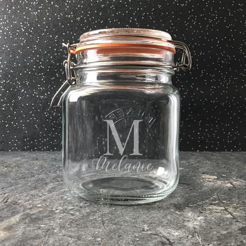 Kilner storage jar with initial