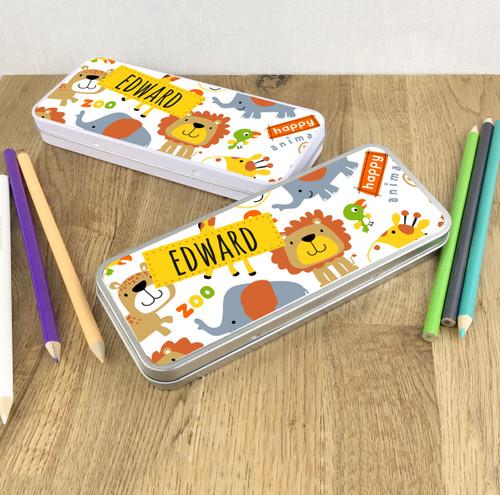 Zoo design, children's pencil tin gift.