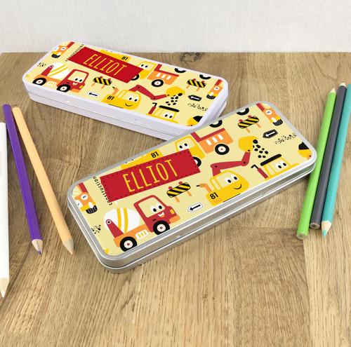 Construction truck pencil tin gift for children