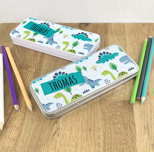 Dinosaur design children's pencil tin gift