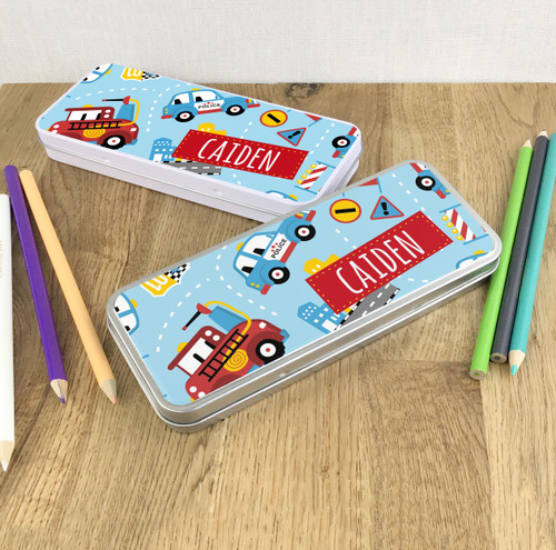 Emergency vehicle pencil tin gift for children