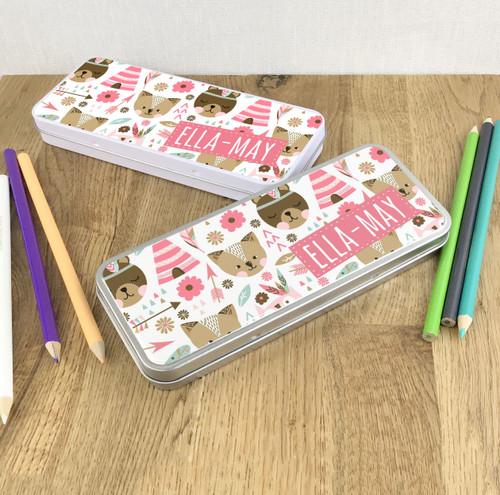 Woodland animals theme pencil tin gift for children