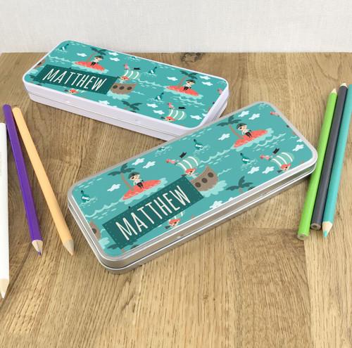 Pirate design pencil tin gift for children