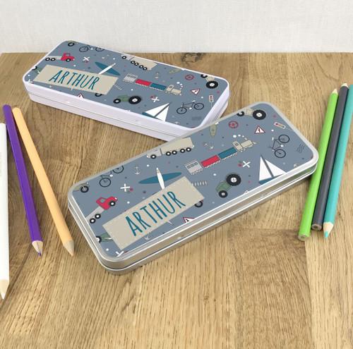 Vehicle design pencil tin gift for children