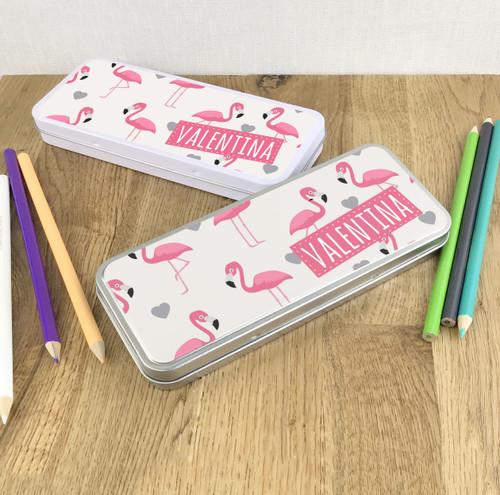 Flamingo design pencil tin gift for children