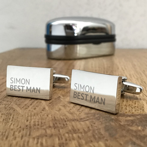 Personalised, engraved rectangle cufflinks gift for the groom's party