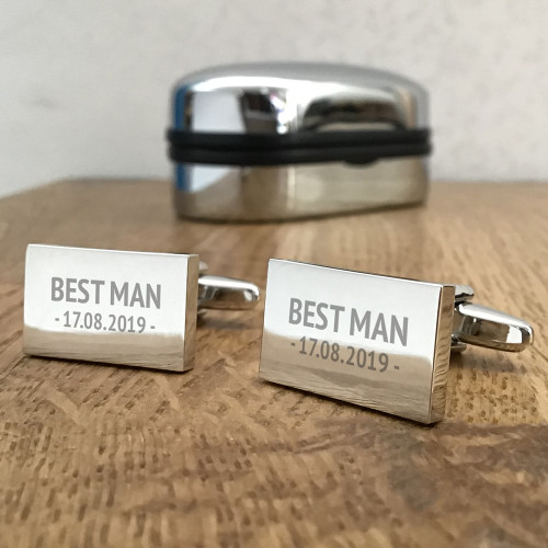 Engraved rectangle cufflinks for the groom's party