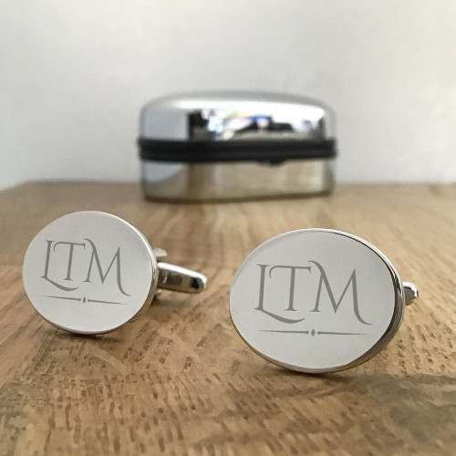 Monogrammed engraved cufflinks gift for him