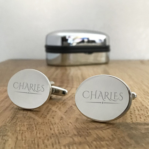 Oval shaped, engraved cufflinks gift for him.