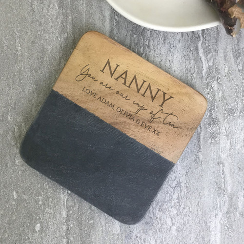 Engraved grey wood drink coaster gift idea
