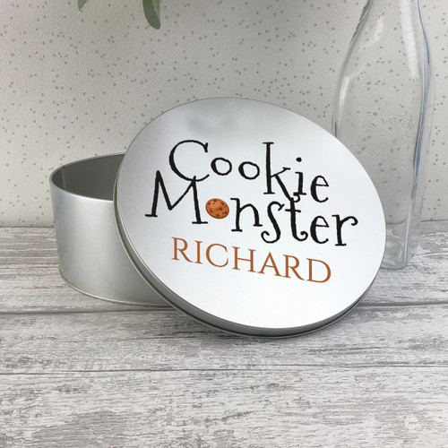 Cookie monster design, personalised storage tin box gift.