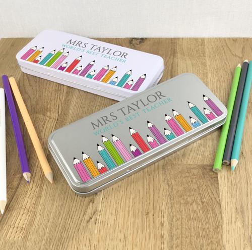 World's best teacher pencil case tin