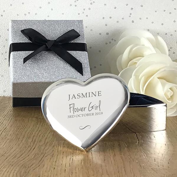 Personalised engraved flower girl gift, heart trinket box
