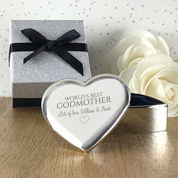 Personalised engraved gift for godmother, silver plated heart trinket box