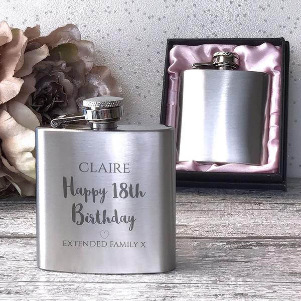 18th Birthday personalised engraved hip flask, 3oz handbag sized