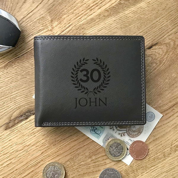 Personalised, laser engraved 30th Birthday dark brown tri-fold leather wallet gift