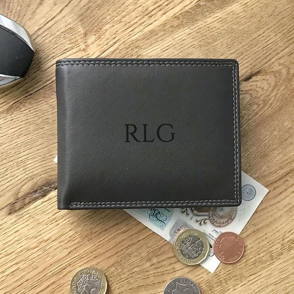 Monogram named, laser engraved personalised leather wallet gift for him