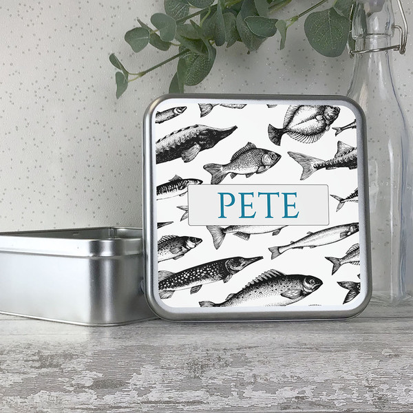 Fishing enthusiast, angler personalised storage tin for tackle and bait