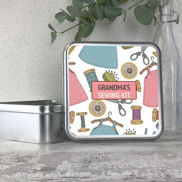 Personalised sewing gift, storage tin for needles, threads and scissors
