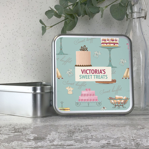 Vintage cake themed storage tin for sweet treats, personalised gift idea