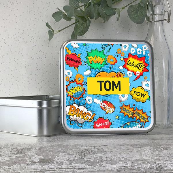 Comic book super hero kids storage tin gift idea