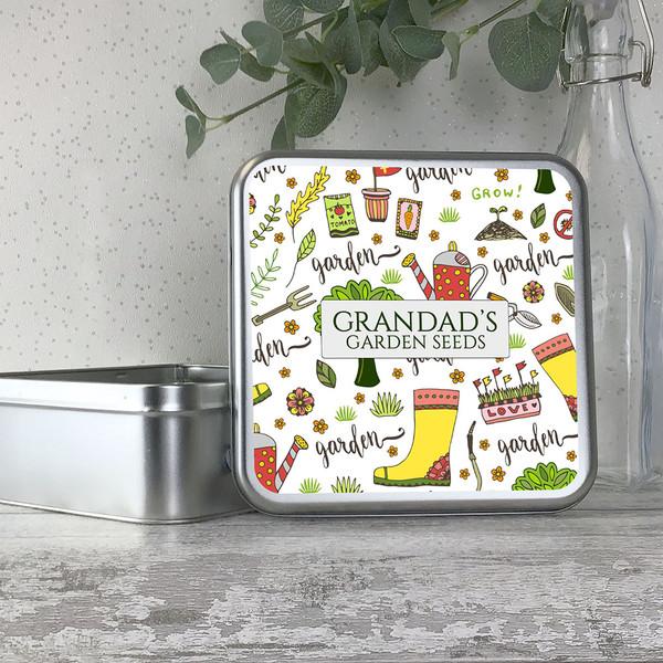 Gardener, gardening themed personalised metal storage seed tin box