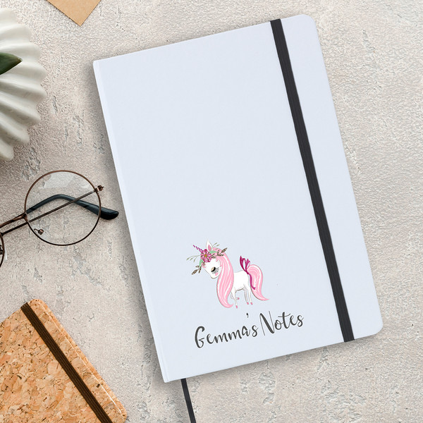 White A5 unicorn design notebook, lined writing paper, perfect for children