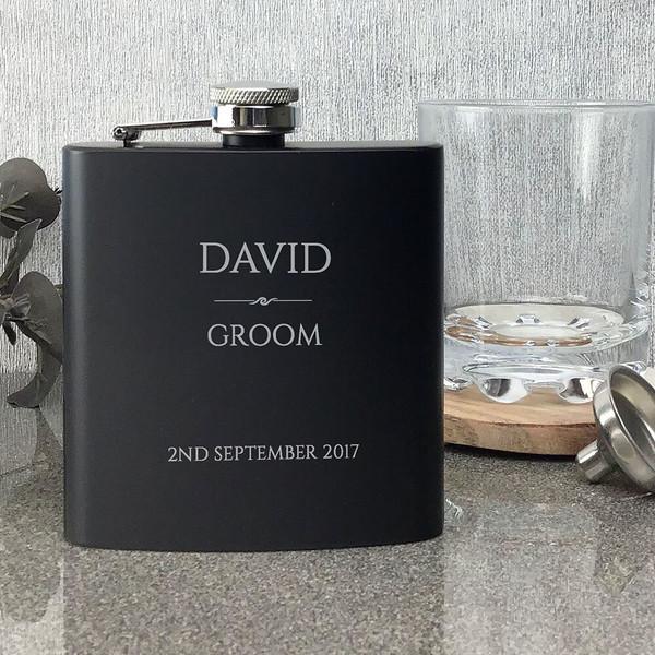 Groom matt black personalised hip flask wedding gift, engraved