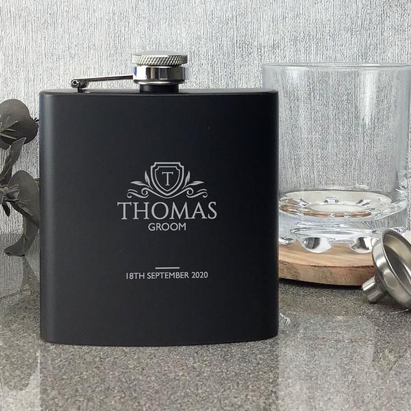 Laser engraved groom wedding hip flask gift, matt black