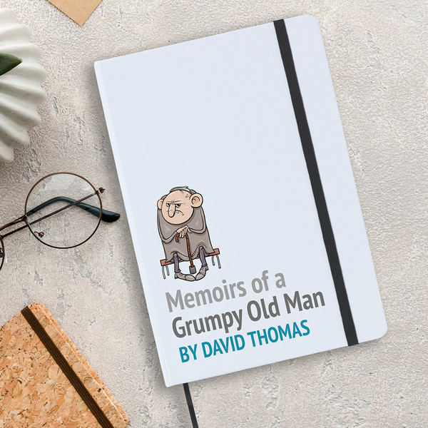 Grumpy old man notebook, A5 sized with lined writing paper inside.