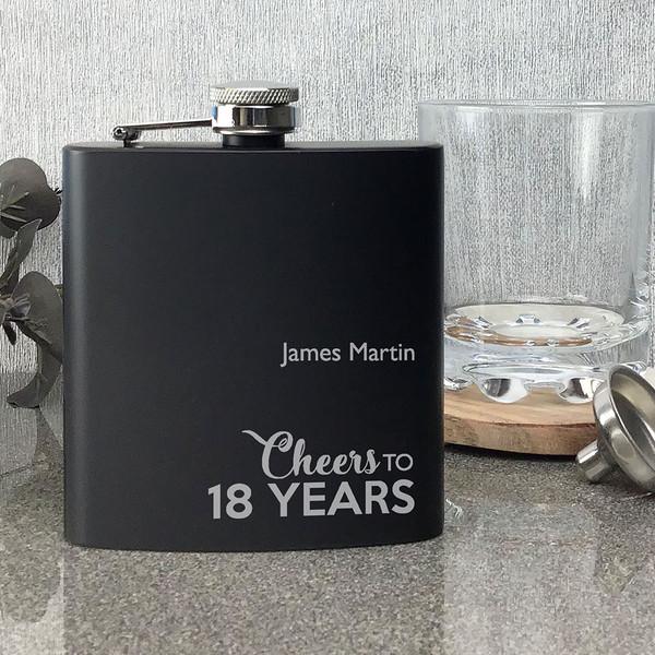 Laser engraved personalised 18th birthday hip flask gift, matt black