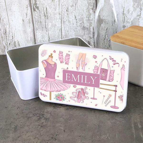 Ballerina design rectangle storage tin.
