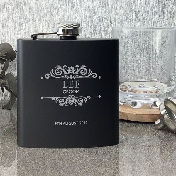 Personalised laser engraved hip flask wedding gift for a groom